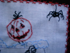 close-up of Pumpkinhead and Spider (shebrews) Tags: embroidery halloweenstitchery jackpumpkin