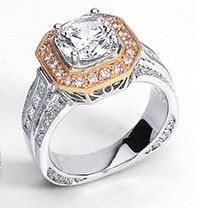 Simon G. Engagment Ring with Pink Diamonds