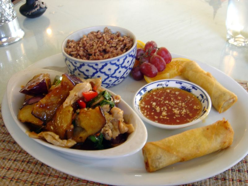 Vegetarian Spring Rolls, Eggplant with Chicken and Brown Rice