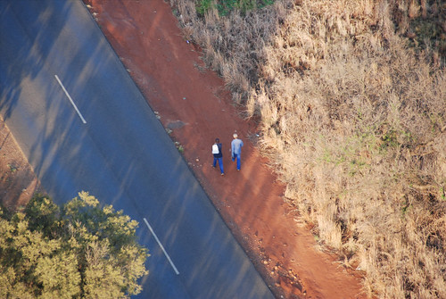people on the road, from above