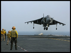 AV-8B Harrier (forstonsr) Tags: usmc marines boeing hawker harrier jumpjet 31stmeu ussessex flightops mcdonnelldouglas britishaerospace yellowshirts av8b av8