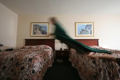The Art of the Hotel Bed Jump (robherr) Tags: kids hotel jump beds superman yours if their annoying especially robherr