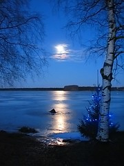 No Snow (Vaeltaja) Tags: blue winter light sky moon lake reflection ice nature suomi finland koivu birch oulu talvi soe kuu luonto valo j sininen heijastus taivas blueribbonwinner kuivasjrvi specnature abigfave anawesomeshot ultimateshot diamondclassphotographer joulukuudecember