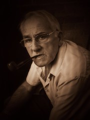 Dad HDR (Deathwaves) Tags: uk portrait brown male sepia person dad pipe smoking rhyl hdr pepole
