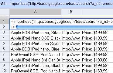 Google Spreadsheets ImportFeed