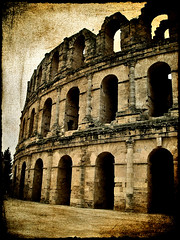 Roman Coliseum in Tunisia.- (ancama_99(toni)) Tags: africa old city trip travel houses vacation urban house holiday abstract building art history texture textura sahara nature monochrome yellow arquitetura sepia architecture photoshop vintage buildings geotagged photography photo interestingness interesting arquitectura edificios sand cityscape desert photos roman tunisia antique decay tunis edificio photographic colosseum romano arena coliseo explore textures architektur layer layers coliseum desierto paysage 2008 abstracto architettura texturas tunisie 1000views colosseo afrique tnez tunez 5000views texturized 50faves 50favs aljamm 25faves theunforgettablepictures ancama99 interesantsimo