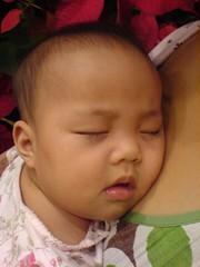 sleeping on mom's chest