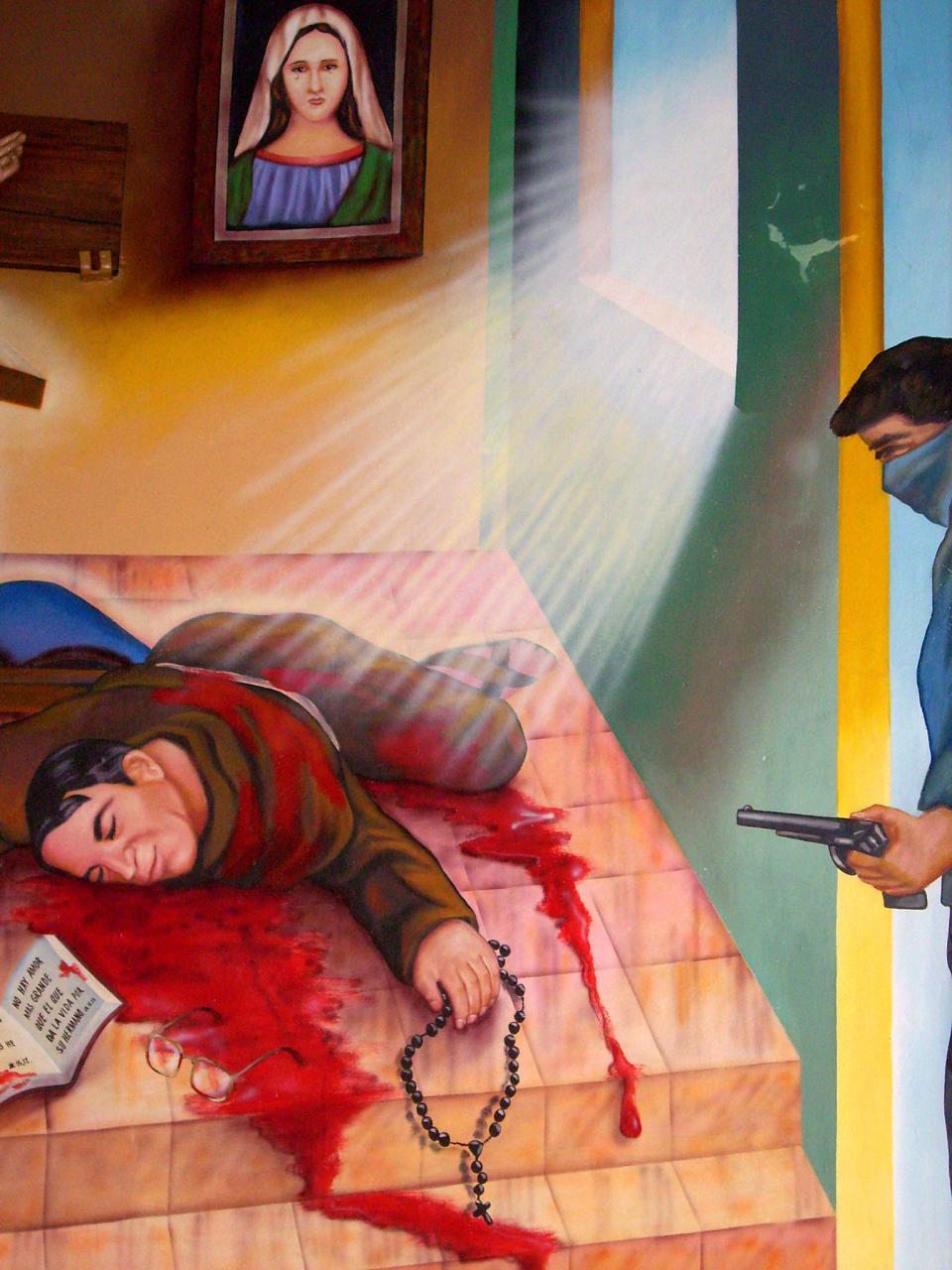 Pintura sobre el martirio del P. Cosme Spessotto