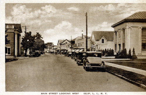 Main Street by Islip Public Library. Main Street (looking west). Present day Tellers restaurant is on the right. Anyone can see this photo