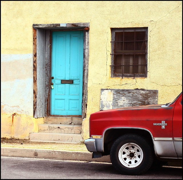 red downtown tucson chevy adobe silverado bluedoor barrioviejo canon30d melissamillage crackedandworn