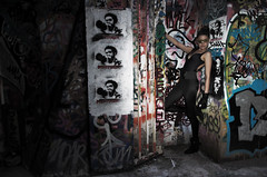 Hidden Tiger (DoF Punk) Tags: streetart fashion graffiti sydney editorial 1755mmf28g bomber catwoman bombing catsuit sydneyuniversity catburglar diabolik diabolique