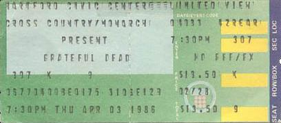 Grateful Dead ticket - 4/3/86 Hartford Civic Center, Hartford, Connecticut -- borrowed from www.psilo.com