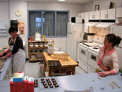 Sharon and Cindy prepare baking in the Community Kitchen