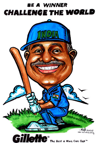 Caricature Gillette cricket player