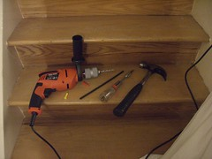 Masonary Power Drill on staircase