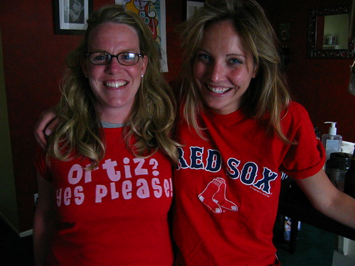 karisa and her bff kerrie before a red sox dodgers game in los angeles