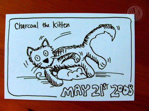 charcoal the kitten postcard