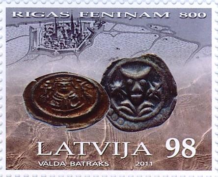 """Pastmarka """"Rīgas feniņam - 800"""""""