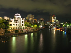 A bomb dome (jasonkrw) Tags: park city longexposure sky river peace ceremony floating hiroshima dome lantern lanternfestival peacepark abombdome 広島 atomicbombdome genbakudome
