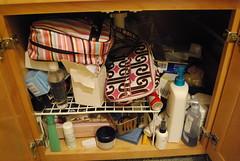 under sink, before
