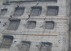 Little red rebar guys (Michael Layefsky) Tags: concrete construction aerial kap rebar kiteaerialphotography berkeleybowl berkeleyca dopero westberkeleybowl newberkeleybowl