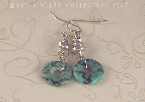 Artisan Fine Silver and African Turquoise Earrings by Art Jewelry Collection
