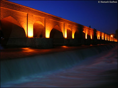 Marnan Bridge   - Esfahan  (Hamzeh Karbasi) Tags: lighting bridge water night river iran persia iranian  esfahan  isfahan     zayanderood zayandehrood   marnan   marnanbridge marnun marnoon