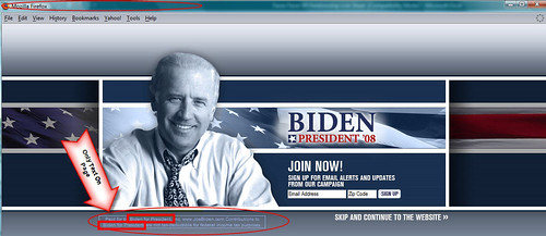 Joe Biden for President Splash Page