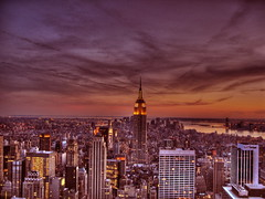 New York Violet Sunset (Mike G. K.) Tags: sunset sky newyork rock clouds view skyscrapers empire empirestatebuilding hdr supershot platinumheartaward goldstaraward