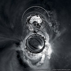Planet New York :: Unisphere (Sam Rohn - 360 Photography) Tags: nyc newyorkcity trees sky blackandwhite bw panorama usa newyork blancoynegro architecture clouds interesting globe noiretblanc bronx skylight australia panoramic queens photograph planet polar stitched hdr 360x180 biancoenero unisphere hdri 360 littleprince stereographic planetoid locationscout 105mmf28gfisheye binarysystem monochromia littleplanet nylocations samrohn smallplanet littleplanets stereographicprojection