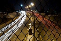 Interstate 75 - 065 (themikepark) Tags: longexposure night fence michigan headlights freeway expressway i75 lincolnpark taillights 065 project365 project3651 project3662008 mar5065366