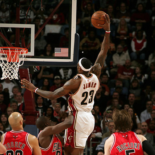 lebron james dunking. 2: LeBron James #23 of the