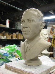 becoming  who (mereshadow) Tags: statue president presidential clay candidate inthe making creating sculpting barackobama yeswecan barackobamastatue obamabust