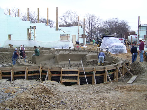 Concrete being formed into the recreation pool