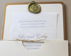 Wedding Invitation (LizzyJJ) Tags: wedding paper gold invitation seal wax etsy