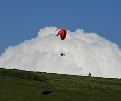 Cloud surfing - Paragliding over the Isle of Wight (s0ulsurfing) Tags: blue light shadow sky cliff cloud sunlight weather silhouette sport backlight clouds danger wow downs fun island freedom coast flying cool skies escape bright wind pov compton aircraft awesome extreme flight wing perspective silhouettes fluffy cliffs pointofview illusion vectis isleofwight cumulus sail recreation backlit paragliding gliding glider paraglider 2008 powerful isle imposing wight exciting paraglide freiheit westwight gleitschirm cumulusmediocris abenteuer ridgesoaring cloudsurfing s0ulsurfing ridgelift welcomeuk