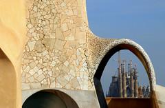 Sagrada Familia, taken from the roof  of Casa Milà, Barcelona (Frans.Sellies) Tags: img6978 barcelona sagradafamilia lapedrera pedrera gaudí casamilà
