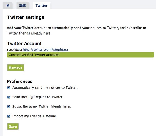 Twitter settings - Identi.ca