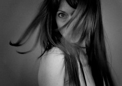 just to reach you (sparkleplenty_fotos) Tags: blackandwhite woman selfportrait motion blur eye face hair flip freckles shoulder dps digitalphotographyschool annagay annagayblackandwhiteactions dpsmood smokinginoldparis
