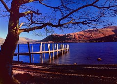 Jetty, sunset. (bobbrooky) Tags: uk sunset england evening jetty lakedistrict places scan velvia bronica cumbria transparency derwentwater etrsi epsonv700 brandlehow