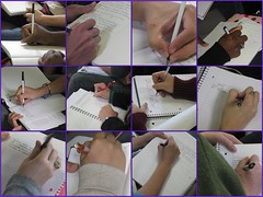 Hands Writing in Class