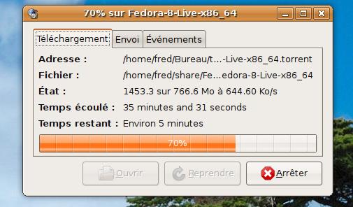bug de la récupération du fichier iso de la fedora 8 live (gnome) x86_64