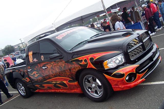 auto orange black truck louisiana automobile flames pickup tribal dodge ram carshow 2007 paintjob dx6490 3043 opelousas evangelinedowns horsepowerclassiccarshow