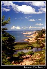 Georgian Bay Lookout (Kurokami) Tags: life park pink blue trees wild lake ontario canada tree water pine bay wildlife great canadian trail shore killarney granite waters georgian wilderness huron province provincial chickanishing