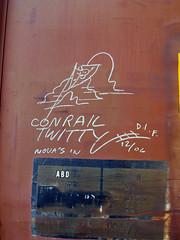 "CONRAIL TWITTY ""Nova's In"" (TRUE 2 DEATH) Tags: california railroad streetart train graffiti tag graf rip railcar boxcar railways hobo railfan freight dif hobotag hobomoniker benching dixieironfist conrailtwitty novasin"