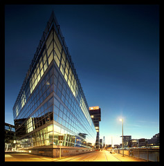 The Ship (Part I) (Jrg Dickmann) Tags: longexposure topf25 architecture canon geotagged eos topf50 focus ship dusk wideangle explore architektur 5d canon5d bluehour dmmerung dsseldorf topf100 nightfall medienhafen blauestunde weitwinkel iso50 canon1740 mediaharbour mediaharbor anawesomeshot geo:lon=6756678 excapture geo:lat=51216169