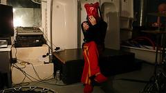 take the bag off your head (micheeky) Tags: leica light red portrait music london home night bag weird industrial head cigarette plastic trousers xavier michiru dlux3 bathtab micheeky sluppers