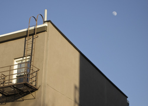 Moon over Building