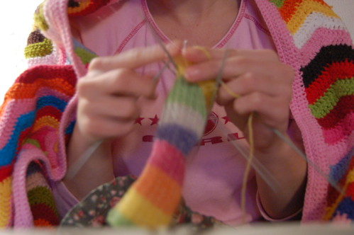 I knitted socks using the rainbow as my guide