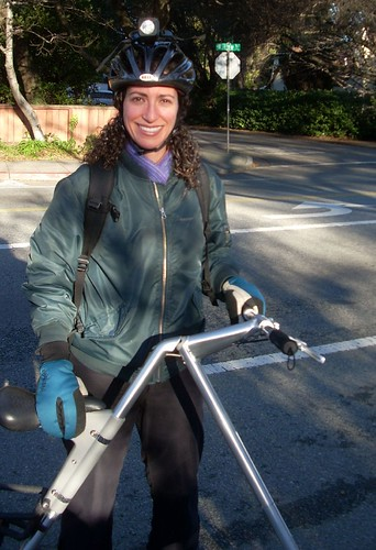 Kate and her Strida folding bicycle